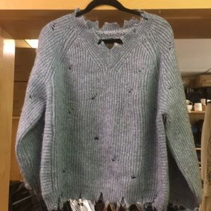 Brand new POL baby blue v neck sweater
